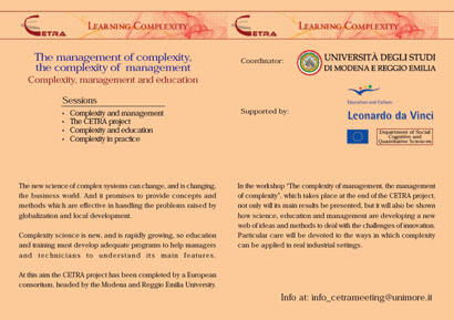 THE MANAGEMENT OF COMPLEXITY, THE COMPLEXITY OF MANAGEMENT